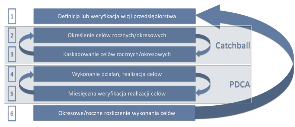 Schemat działania systemu zarządzania Hoshin Kanri